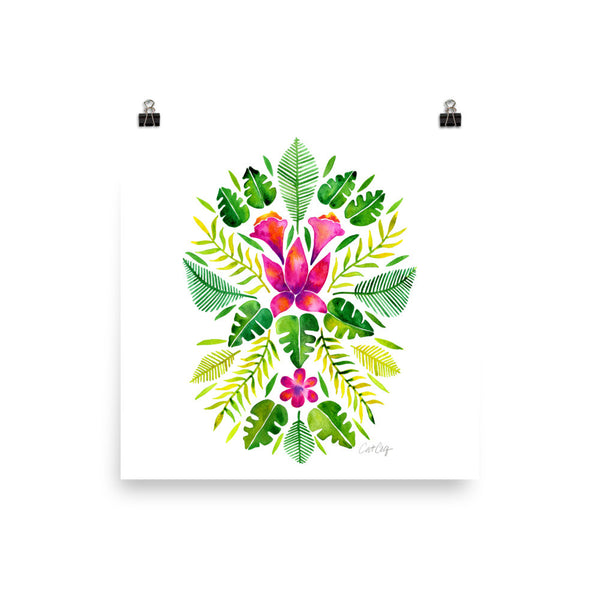 Tropical Symmetry – Pink & Green Palette • Art Print