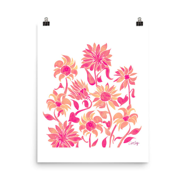 Sunflower Watercolor – Pink Palette • Art Print