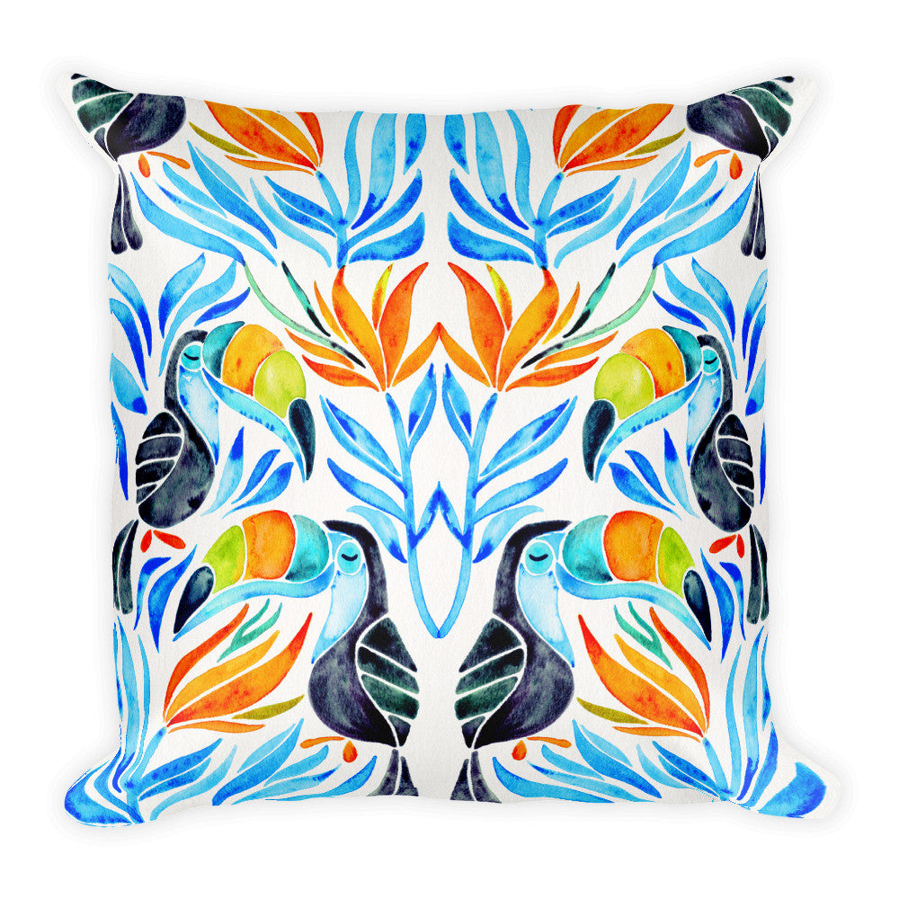 Tropical Toucans – Blue Leaves  •  Square Pillow