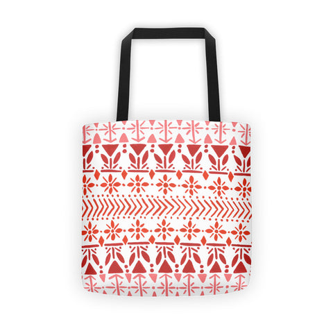 Norwegian Pattern – Red Palette • Tote Bag