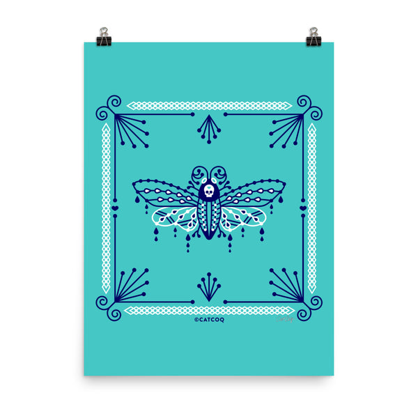 Death's Head Hawkmoth – Navy and White on Turquoise • Art Print