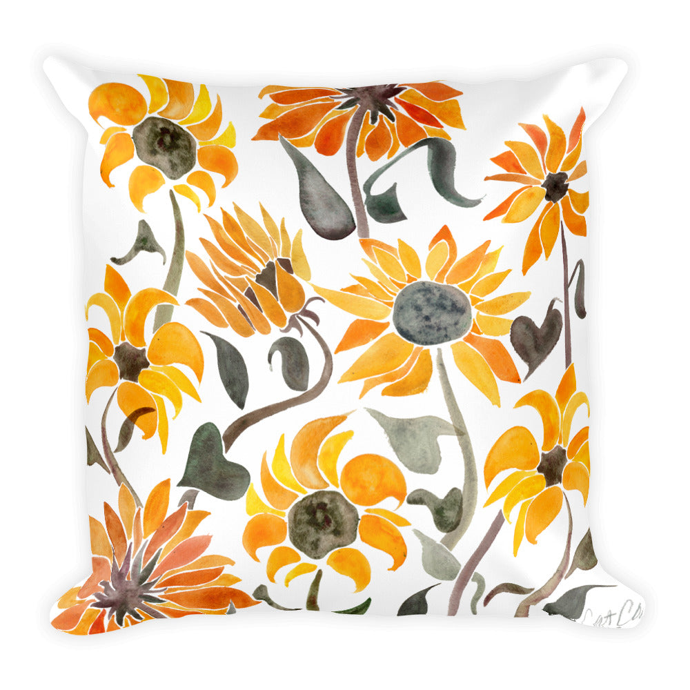 Sunflower Watercolor – Yellow Palette • Square Pillow