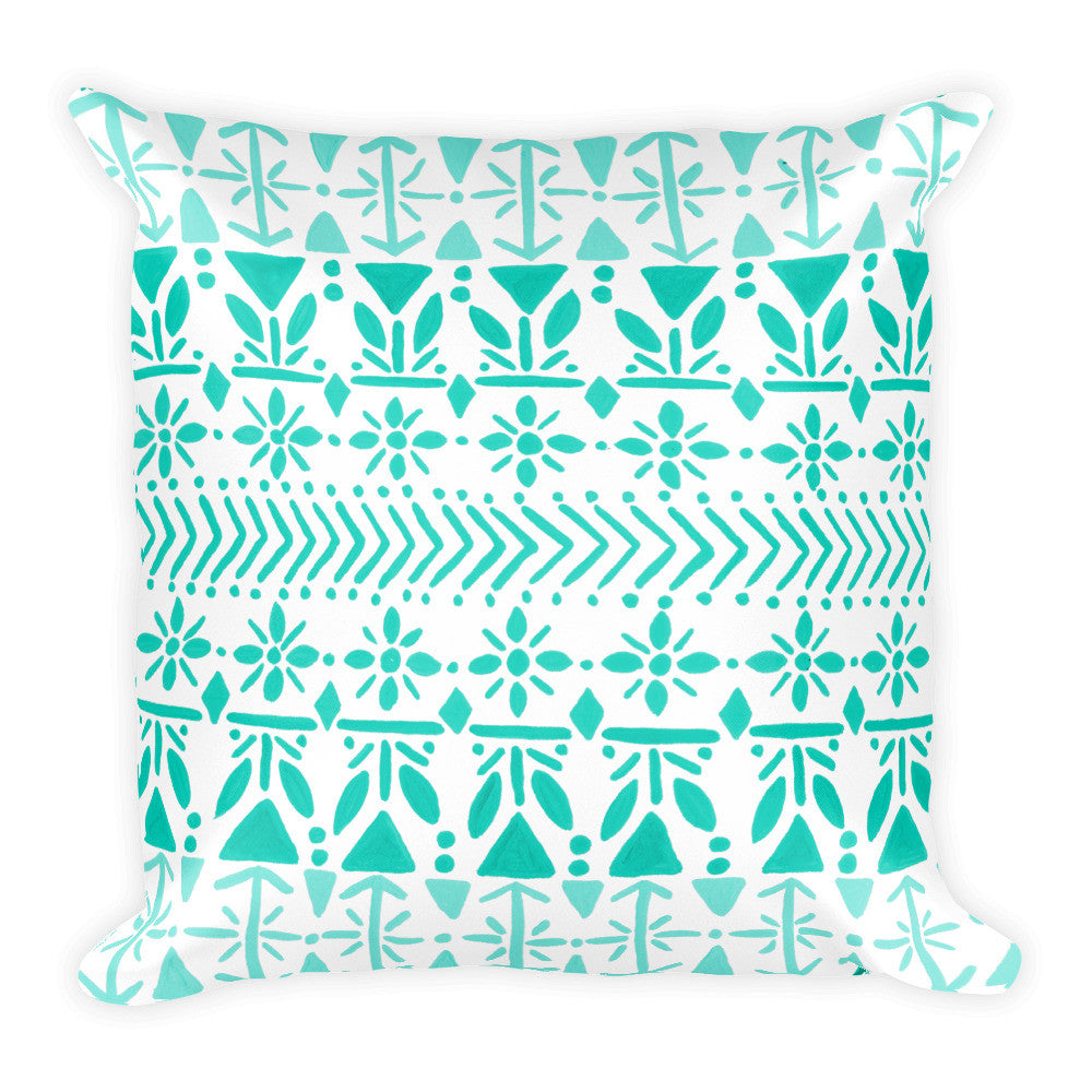 Norwegian Pattern – Turquoise Palette • Square Pillow