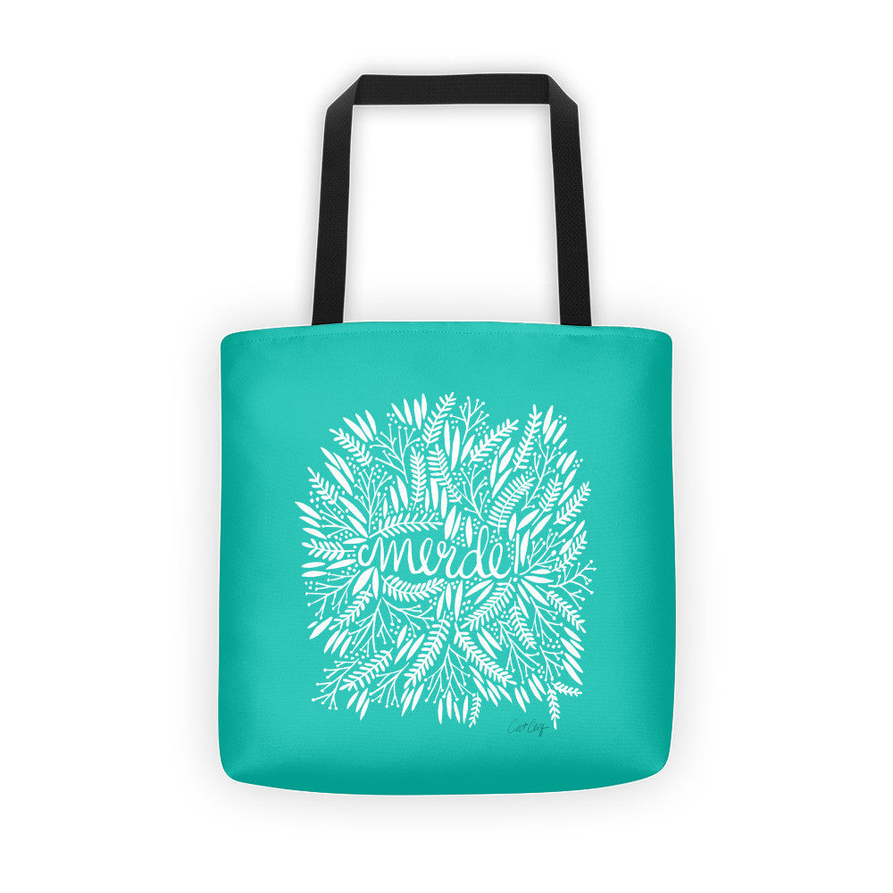 Merde – White Fronds on Turquoise • Tote Bag