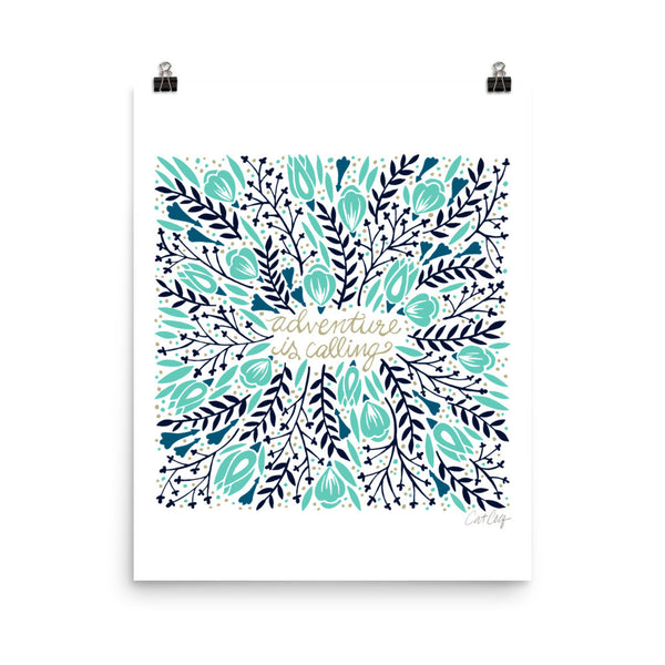 Adventure is Calling – Turquoise & Navy Palette • Art Print