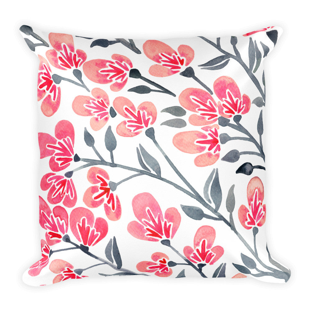 Cherry Blossoms – Pink & Grey Palette • Square Pillow