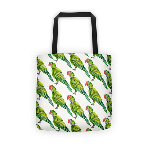 Perched Parrot – Green Palette • Tote Bag