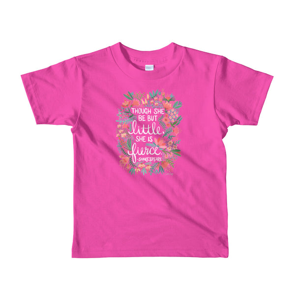 Little & Fierce – White Lettering • Short sleeve kids t-shirt