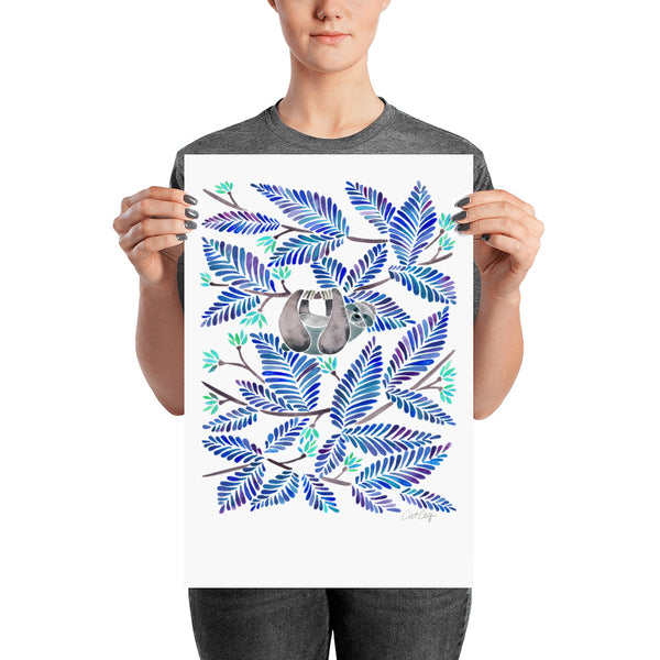 Happy Sloth – Tropical Blue Rainforest • Art Print