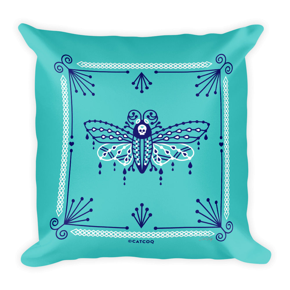 Death's Head Hawkmoth – Navy and White on Turquoise • Square Pillow
