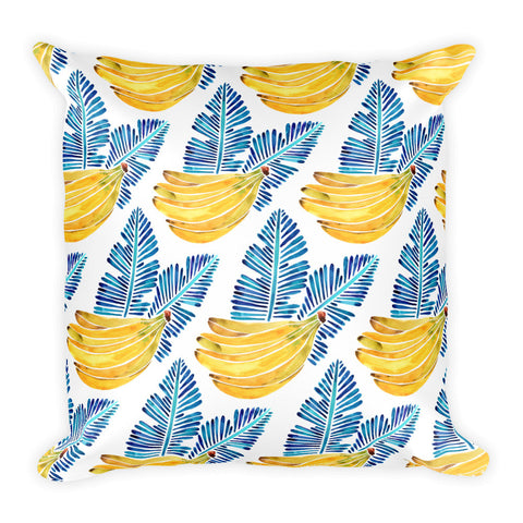 Banana Bunch – Yellow & Blue  •  Square Pillow