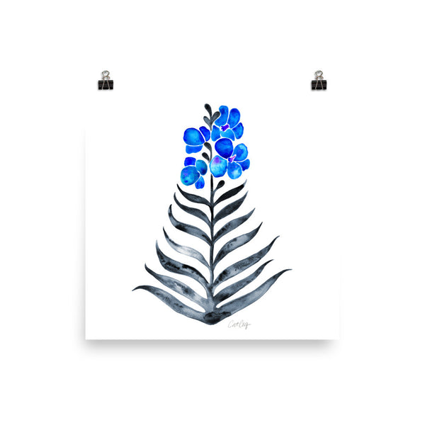 Orchid Bloom – Blue & Black Palette • Art Print