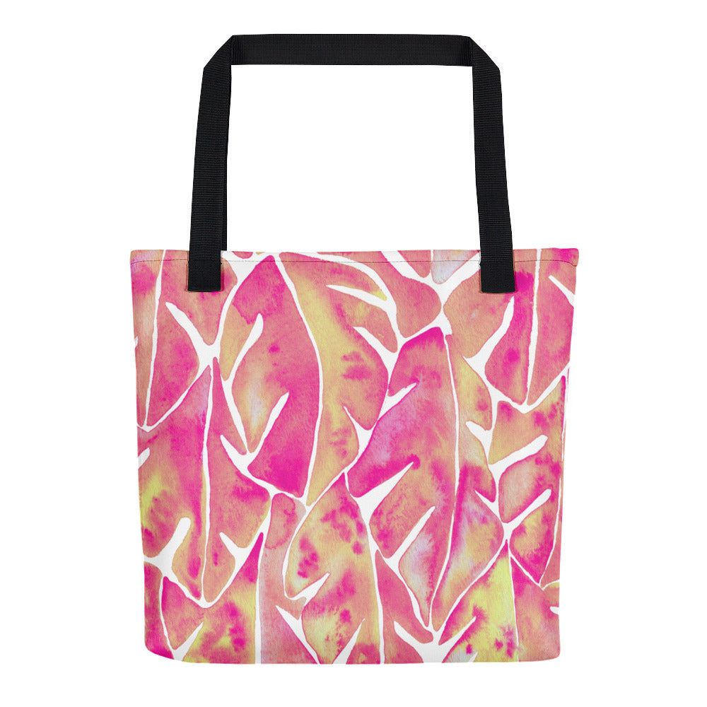 Split Leaf Philodendron – Pink Palette • Tote Bag