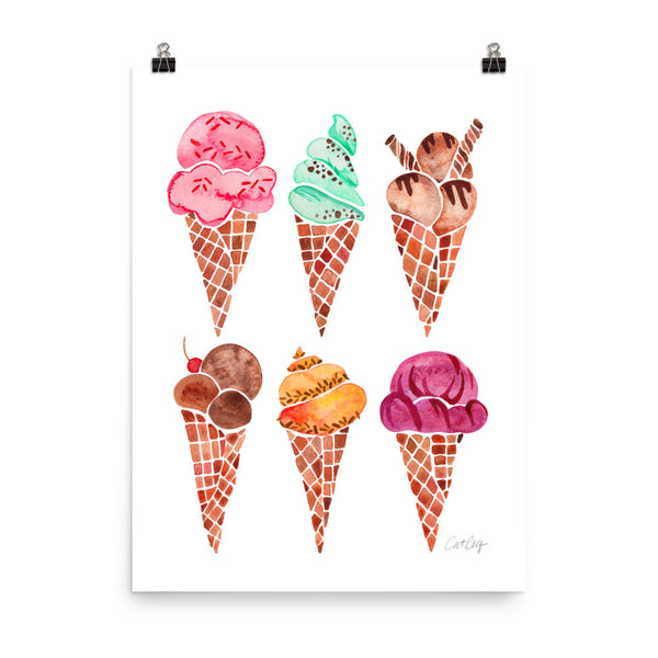 Ice Cream Cones – Rainbow Palette • Art Print