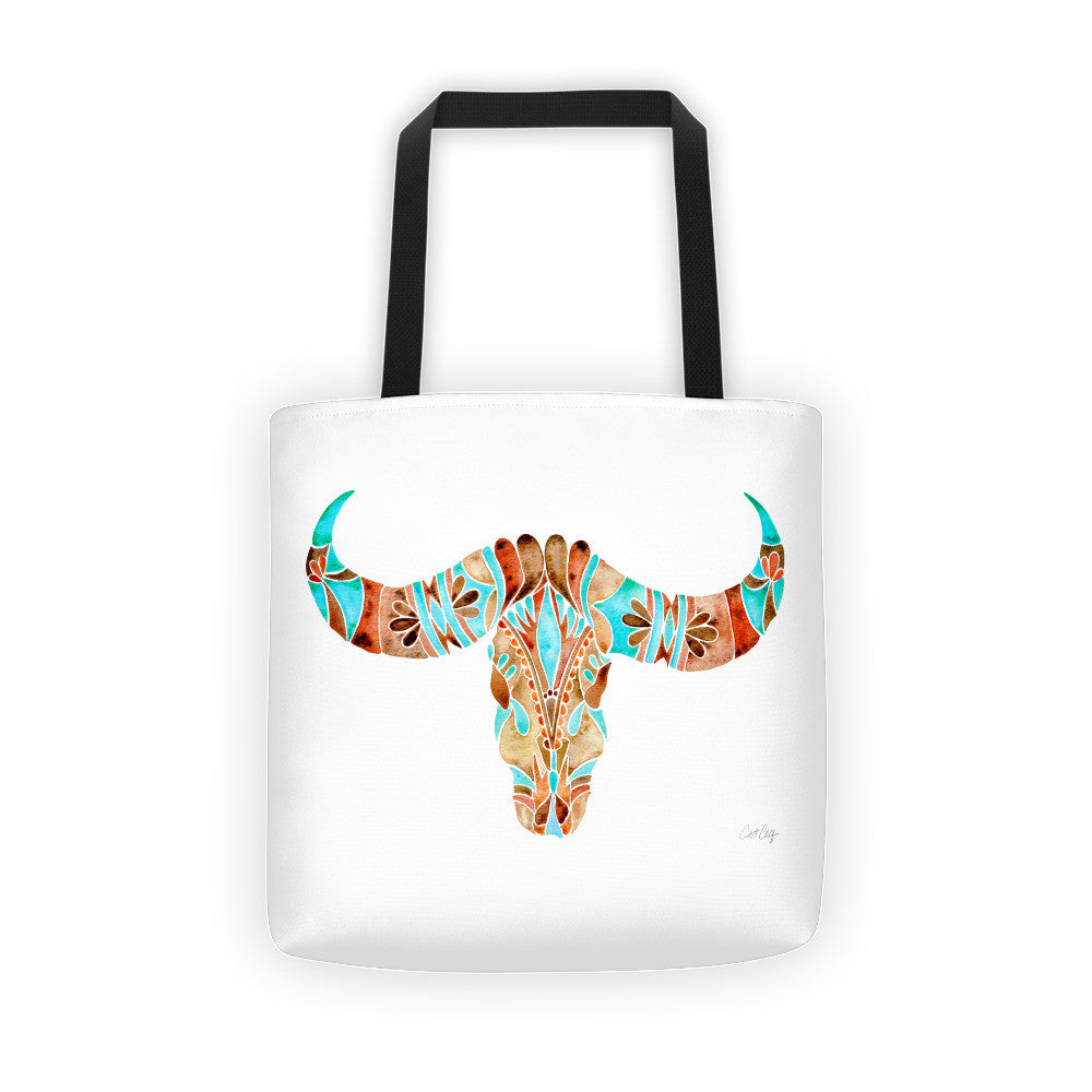 Water Buffalo Skull – Sepia & Turquoise Palette  •  Tote Bag