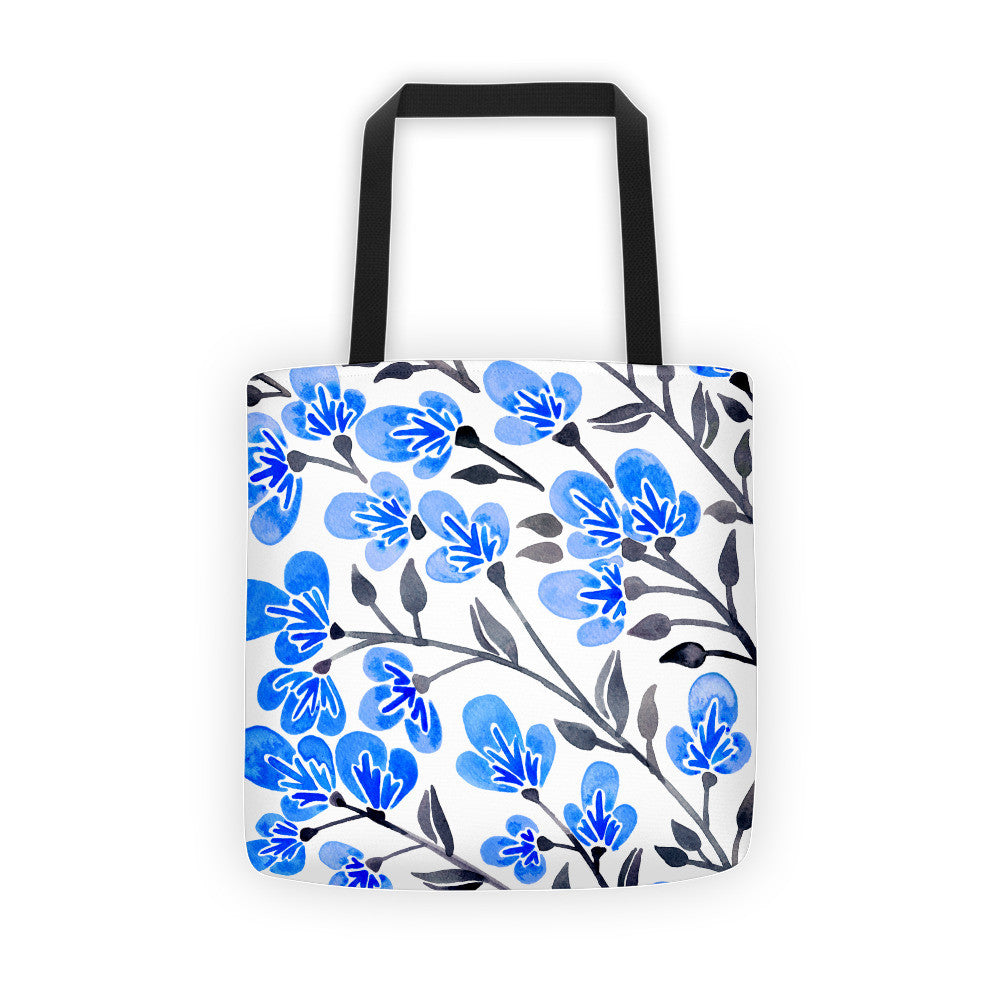Cherry Blossoms – Blue & Grey Palette • Tote Bag