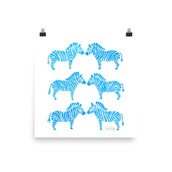 Zebra Collection – Blue Palette • Art Print