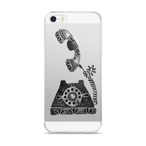 Vintage Rotary Phone – Black Palette • iPhone 5/5s/Se, 6/6s, 6/6s Plus Case (Transparent)