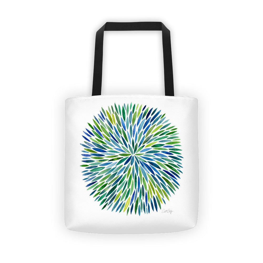 Watercolor Burst – Blue/Green Palette  •  Tote Bag
