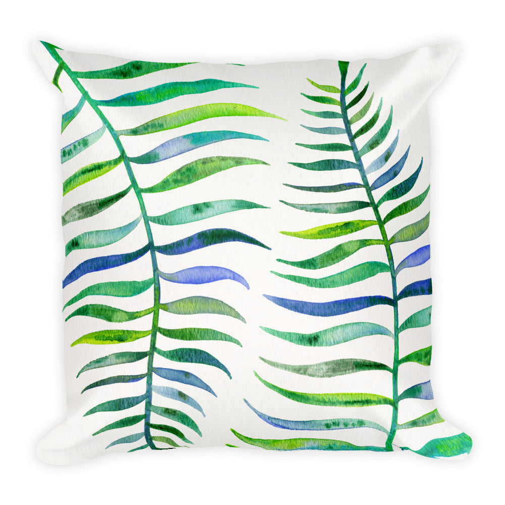 Palm Leaf – Green Palette  •  Square Pillow
