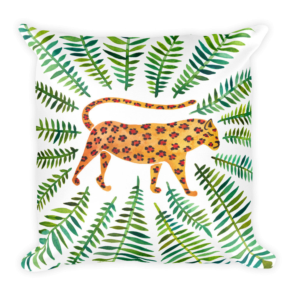 Jaguar – Green Leaves • Square Pillow