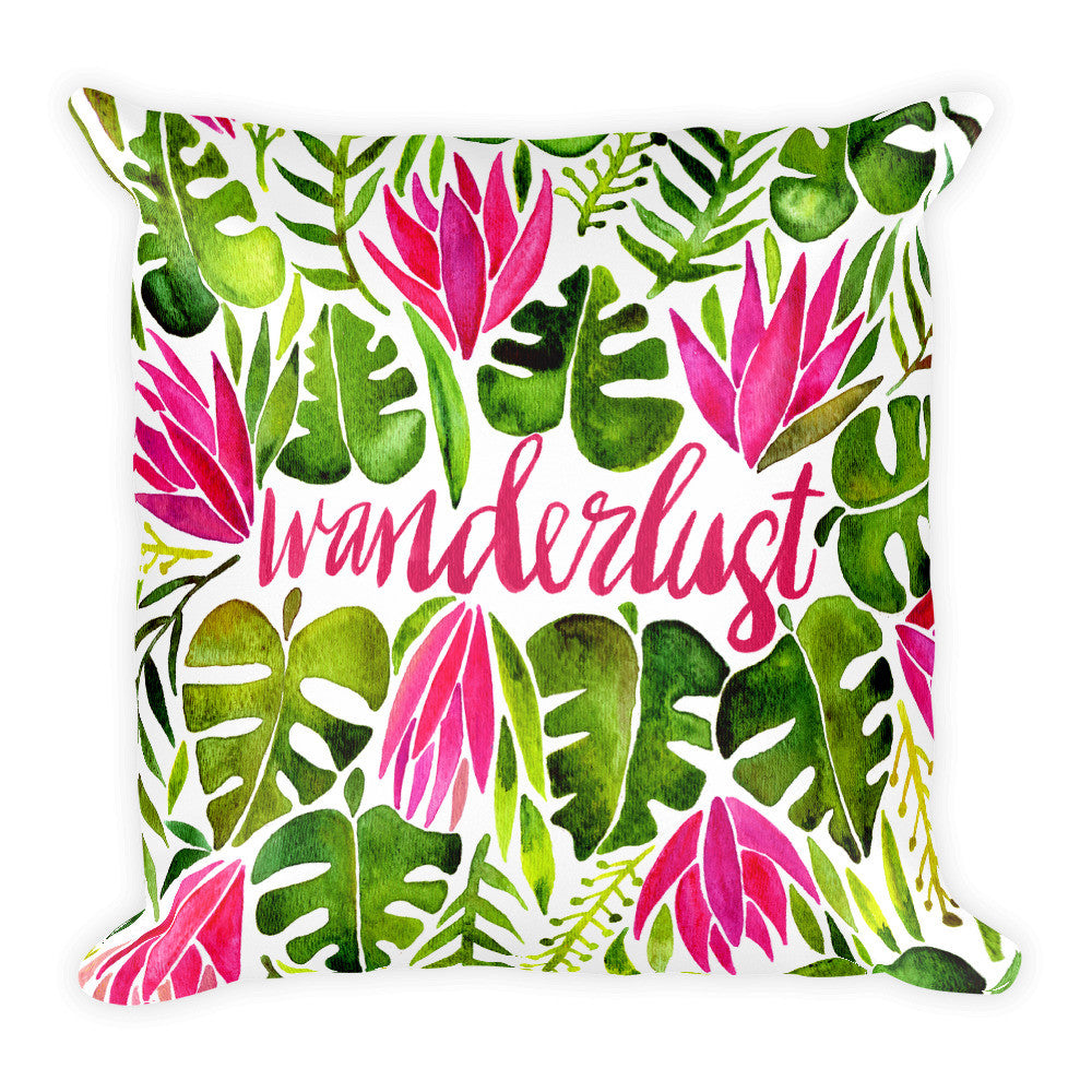 Wanderlust – Pink & Green Palette  •  Square Pillow