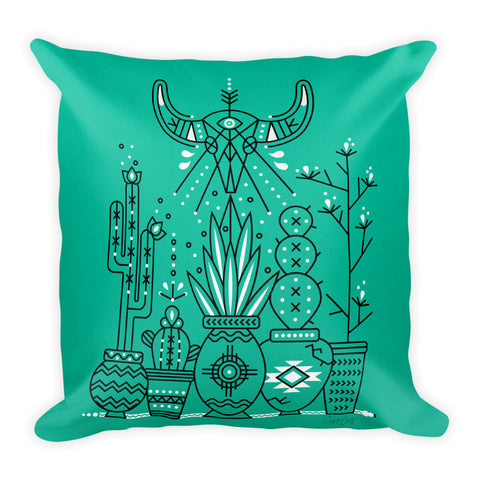 Santa Fe Garden – Green & Black Palette  •  Square Pillow