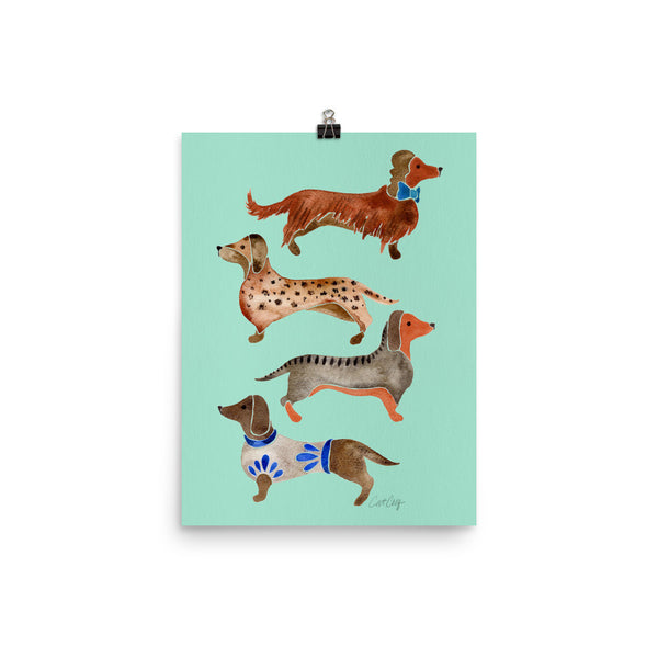 Dachshunds – Mint Palette • Art Print