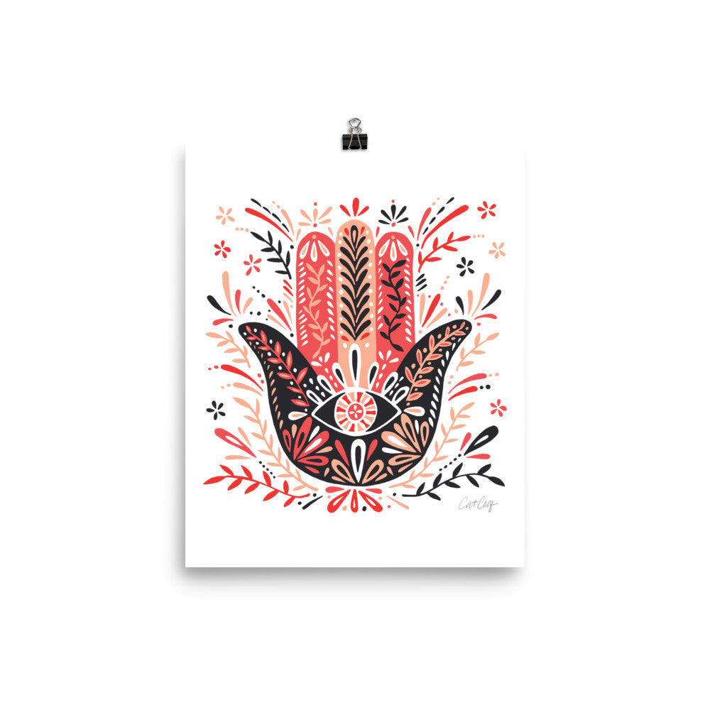 Hamsa Hand – Red & Black Palette • Art Print