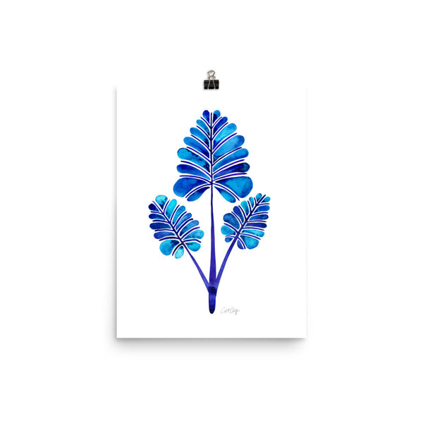 Palm Leaf Trifecta – Navy Palette • Art Print