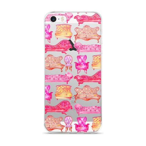 Victorian Lounge – Pink Palette  •  iPhone 5/5s/Se, 6/6s, 6/6s Plus Case (Transparent)