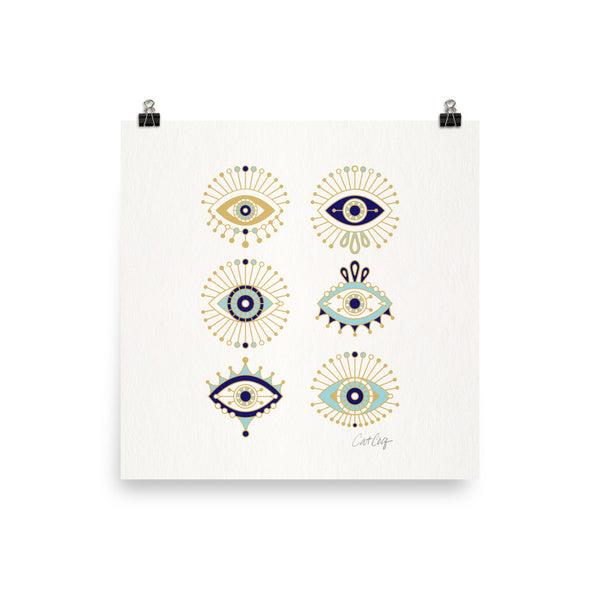Evil Eyes – White Background • Art Print