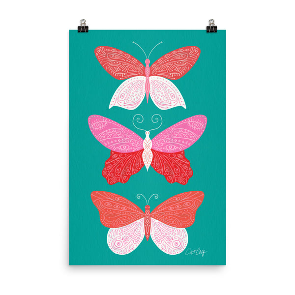 Tattooed Butterflies – Turquoise & Pink