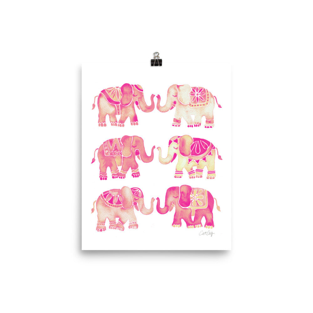 Elephant Collection – Pink Ombré Palette • Art Print