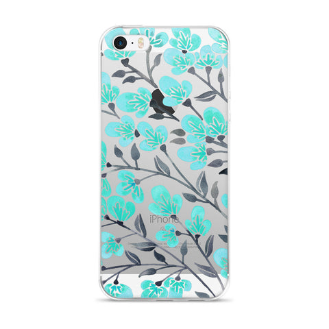 Cherry Blossoms – Turquoise & Grey Palette • iPhone 5/5s/Se, 6/6s, 6/6s Plus Case (Transparent)