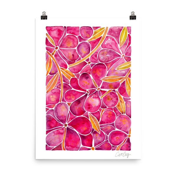 Orchid Wall – Fuschia & Yellow Palette • Art Print