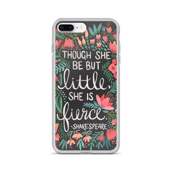 Little & Fierce – White Calligraphy on Charcoal • iPhone Case