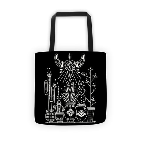 Santa Fe Garden – White Ink on Black  •  Tote Bag