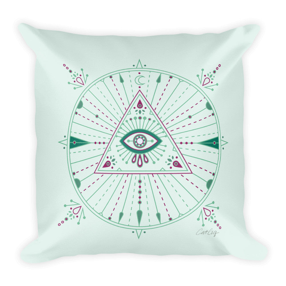All-Seeing Eye Mandala – Mint Palette •  Square Pillow