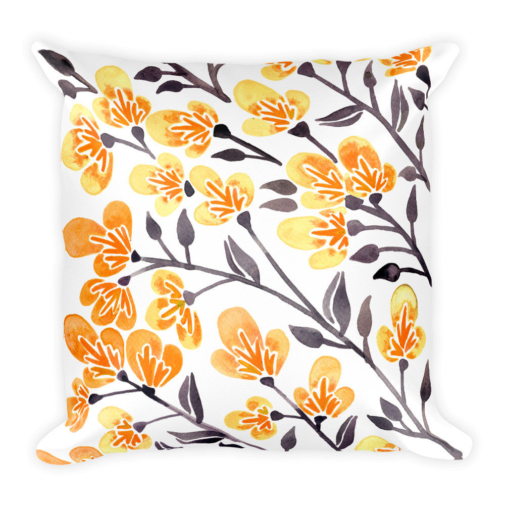 Cherry Blossoms – Yellow Palette • Square Pillow