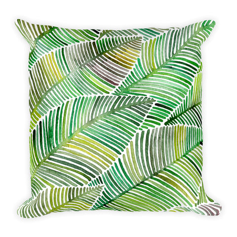 Tropical Leaves – Green Palette  •  Square Pillow