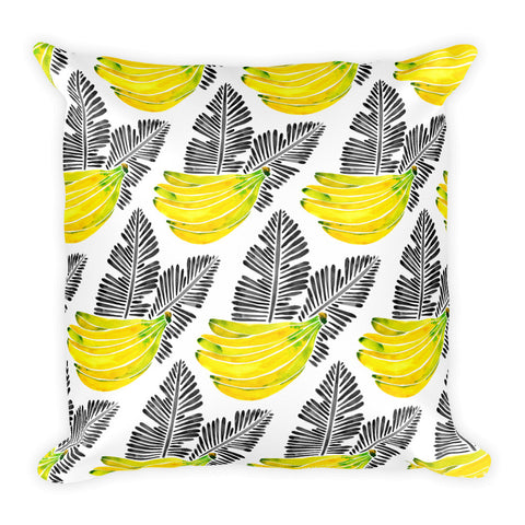 Banana Bunch – Yellow & Black  •  Square Pillow