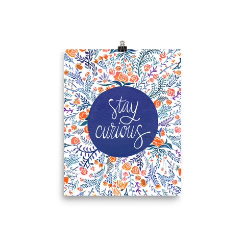 Stay Curious – Navy & Coral Palette • Art Print