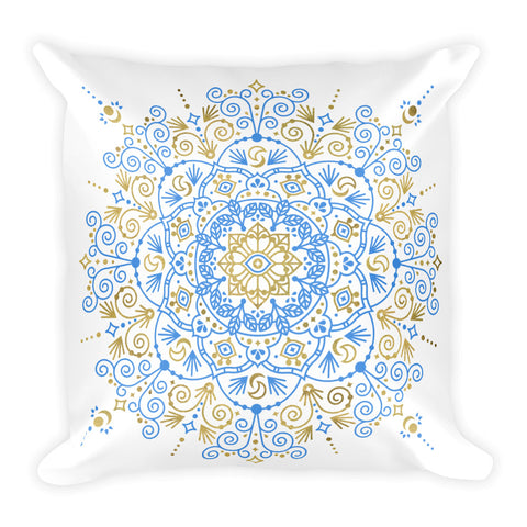 Moroccan Mandala – Blue & Gold Palette • Square Pillow