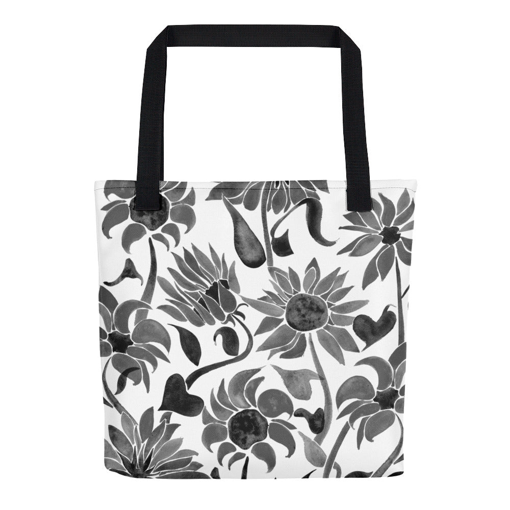 Sunflower Watercolor – Black Palette • Tote Bag