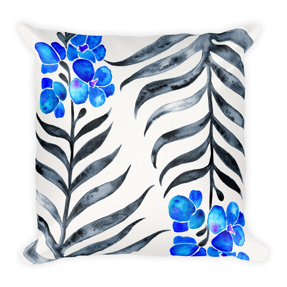 Orchid Bloom – Blue & Black Palette • Square Pillow