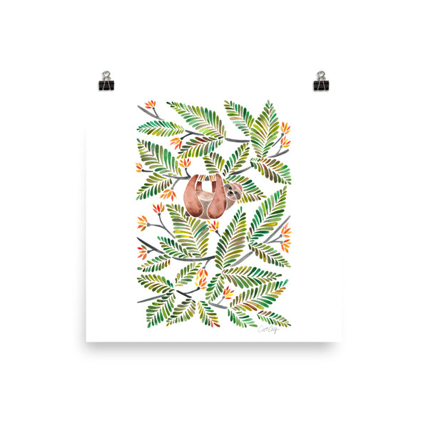 Happy Sloth – Tropical Green Rainforest • Art Print