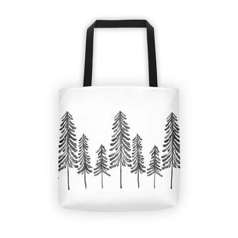 Pine Trees – Black Palette • Tote Bag