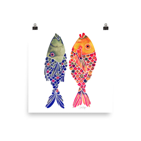 Indonesian Fish – Navy & Red Palette • Art Print
