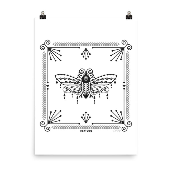 Death's Head Hawkmoth – Black & White Palette • Art Print